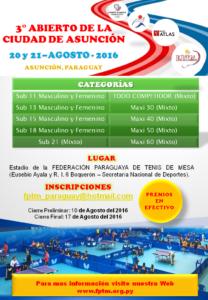 3° ABIERTO DE LA CIUDAD DE ASUNCIÓN afiche A4