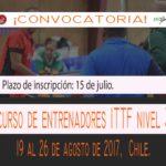 Convocatoria para curso de entrenadores ITTF nivel 3 en Chile